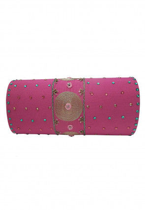 Hand Embroidered Dupion Silk Flap Clutch Bag in Pink
