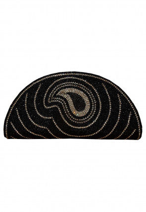 Hand Embroidered Dupion Silk Flap Clutch Cum Sling Bag in Black