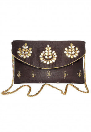 Hand Embroidered Dupion Silk Flap Clutch Cum Sling Bag in Brown