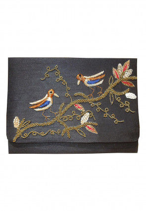 Hand Embroidered Dupion Silk Flap Clutch Cum Sling Bag in Grey
