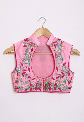 Hand Embroidered Dupion Silk Jacket in Pink