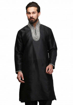 Hand Embroidered Dupion Silk Kurta in Black