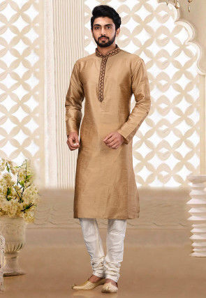 Hand Embroidered Dupion Silk Kurta Set in Beige