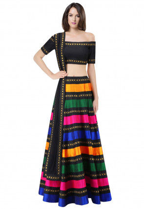 Hand Embroidered Dupion Silk Lehenga in Multicolor