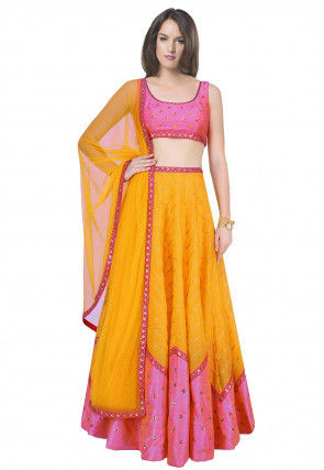 Hand Embroidered Dupion Silk Lehenga in Mustard and Pink