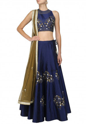 Hand Embroidered Dupion Silk Lehenga in Navy Blue