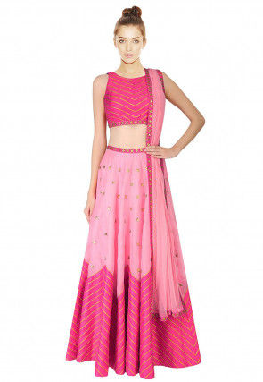 Hand Embroidered Dupion Silk Lehenga in Pink
