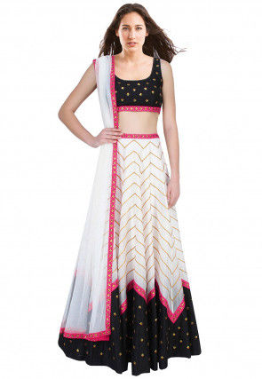 Hand Embroidered Dupion Silk Lehenga in White and Black