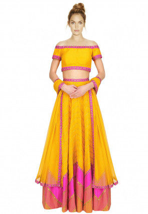 Hand Embroidered Dupion Silk Lehenga in Yellow and Pink