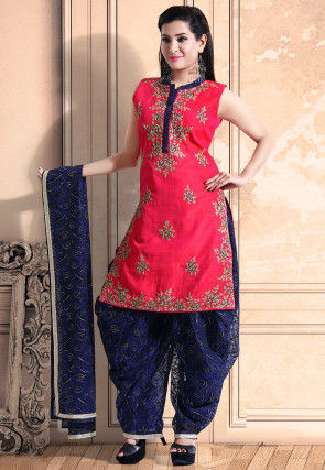 Hand Embroidered Dupion Silk Punjabi Suit in Pink