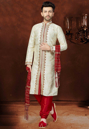 Hand Embroidered Dupion Silk Sherwani in Cream