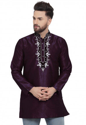 Hand Embroidered Dupion Silk Short Kurta in Wine