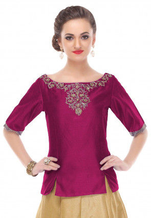 Hand Embroidered Dupion Silk Top in Magenta