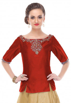 Hand Embroidered Dupion Silk Top in Maroon