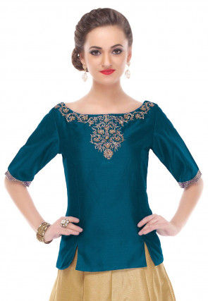 Hand Embroidered Dupion Silk Top in Teal Blue