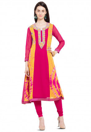 Hand Embroidered Georgette A Line Kurta in Fuchsia and Yellow
