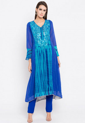 Hand Embroidered Georgette A Line Kurta in Royal Blue