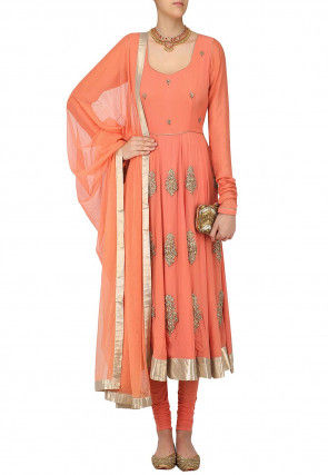 Hand Embroidered Georgette A Line Suit in Peach