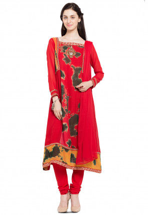 Hand Embroidered Georgette A Line Suit in Red