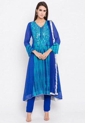 Hand Embroidered Georgette A Line Suit in Royal Blue
