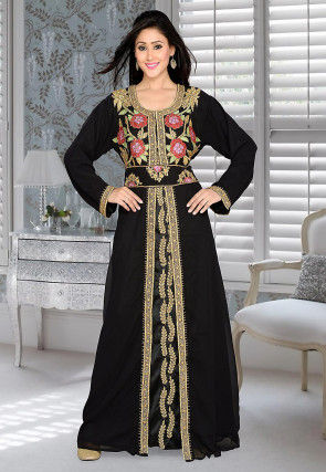Hand Embroidered Georgette Abaya in Black