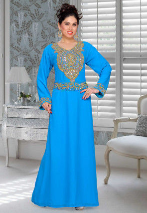 Hand Embroidered Georgette Abaya in Blue