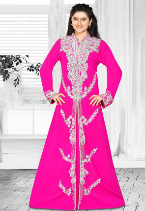 Hand Embroidered Georgette Abaya in Fuchsia