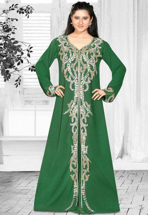 Hand Embroidered Georgette Abaya in Green
