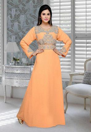 Hand Embroidered Georgette Abaya in Light Orange