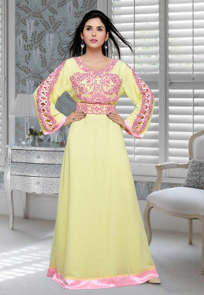 Hand Embroidered Georgette Abaya in Light Yellow