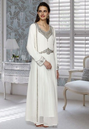 Hand Embroidered Georgette Abaya in Off White