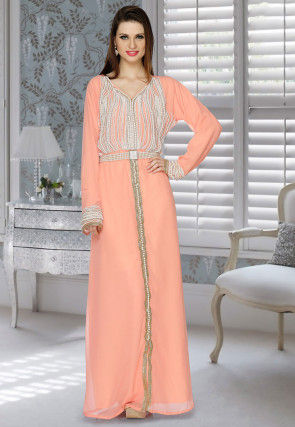 Hand Embroidered Georgette Abaya in Peach