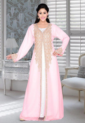 Hand Embroidered Georgette Abaya in Pink