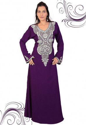 Hand Embroidered Georgette Abaya in Purple