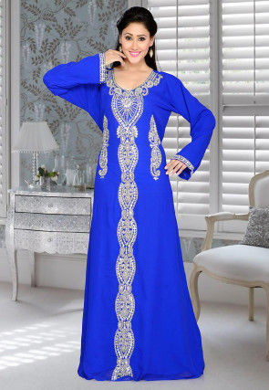 Hand Embroidered Georgette Abaya in Royal Blue
