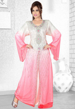 Hand Embroidered Georgette Abaya in Shaded White and Peach