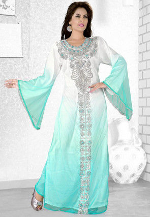 Hand Embroidered Georgette Abaya in Shaded White and Turquoise