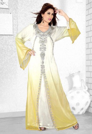 Hand Embroidered Georgette Abaya in Shaded White and Yellow