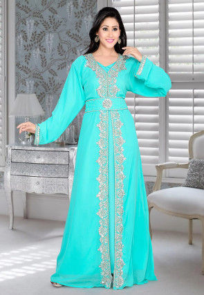 Hand Embroidered Georgette Abaya in Turquoise