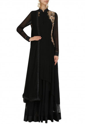 Hand Embroidered Crepe Abaya Style Suit in Black