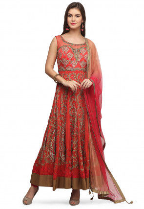 Hand Embroidered Georgette Abaya Style Suit in Coral Red