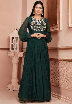 Hand Embroidered Georgette Abaya Style Suit in Dark Green