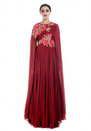 Hand Embroidered Georgette Abaya Style Suit in Maroon