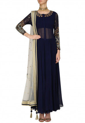 Hand Embroidered Georgette Abaya Style Suit in Navy Blue
