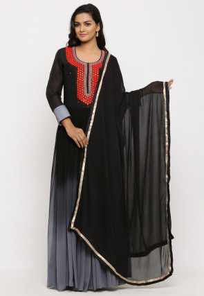 Hand Embroidered Georgette Abaya Style Suit in Ombre Black