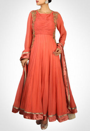 Hand Embroidered Georgette Abaya Style Suit in Orange
