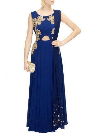 Hand Embroidered Georgette Abaya Style Suit in Royal Blue