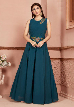 Hand Embroidered Georgette Abaya Style Suit in Teal Blue