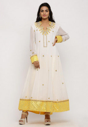 Hand Embroidered Georgette Anarkali Kurta in Off White