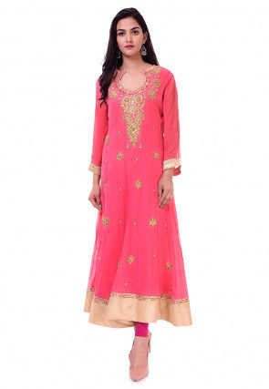 Hand Embroidered Georgette Anarkali Kurta in Pink